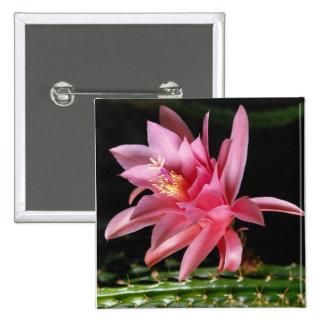 Pink Flower 15 Cm Square Badge