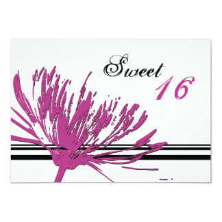 Pink Flower 16th Birthday Party Invitation Cards