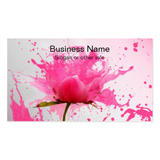 Pink Flower Abstract Paint Splatter Pack Of Standard Business Cards