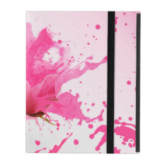 Pink Flower Abstract Paint Splatter iPad Case