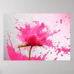 Pink Flower Abstract Paint Splatter Poster
