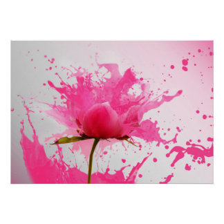Pink Flower Abstract Paint Splatter Poster