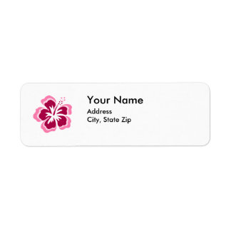 pink flower address label