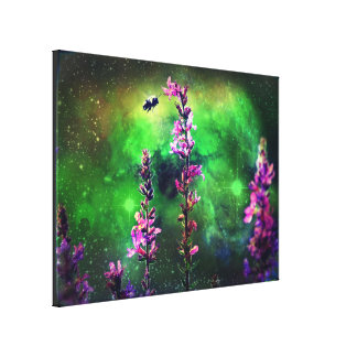 Pink Flower and Bee Against the World Canvas Prints