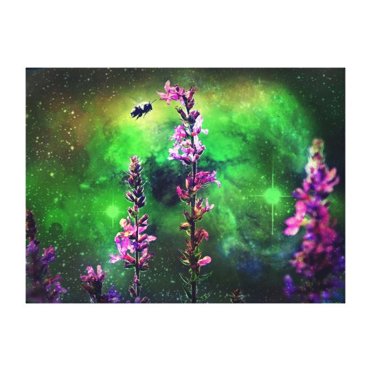 Pink Flower and Bee Against the World Canvas