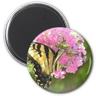 Pink Flower and Butterfly 6 Cm Round Magnet