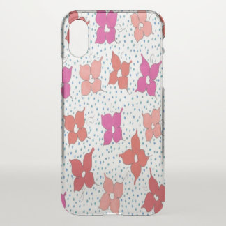 Pink Flower and Dots Clear Deflector iPhone Case
