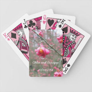 Pink Flower And Rain Drop Personalized Wedding Bicycle Playing Cards