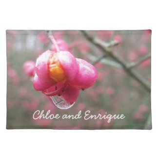Pink Flower And Rain Drop Personalized Wedding Placemat