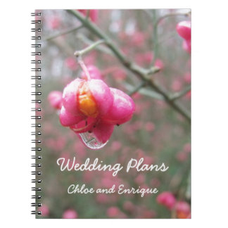 Pink Flower And Rain Drop Wedding Notes Book