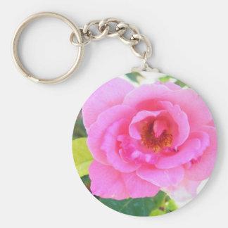 pink flower basic round button key ring