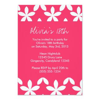 "Pink Flower Birthday Invitation 5"" X 7"" Invitation Card"