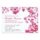 Pink Flower Blossoms Bridal Wedding Shower Party Card