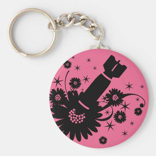 Pink Flower Bomb Basic Round Button Key Ring