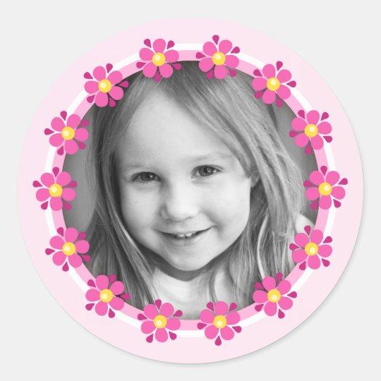 Pink flower border photo frame custom photograph classic