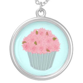 Pink Flower Bouquet Cupcake Necklace