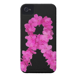 Pink Flower Breast Cancer Awareness Ribbon iPhone 4 Case-Mate Case
