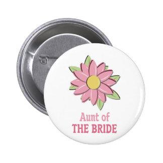 Pink Flower Bride Aunt 6 Cm Round Badge