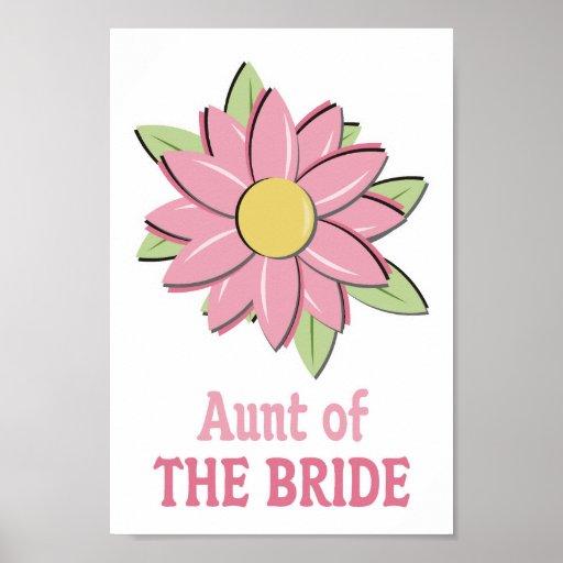 Pink Flower Bride Aunt Poster