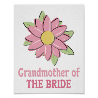Pink Flower Bride Grandmother Posters