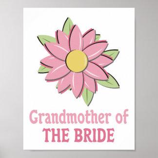 Pink Flower Bride Grandmother Posters
