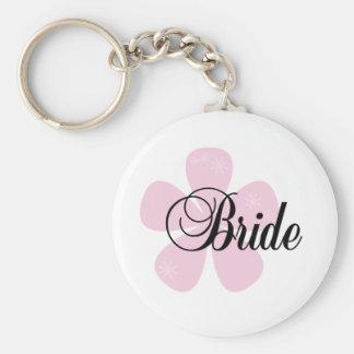 Pink Flower Bride Key Chain
