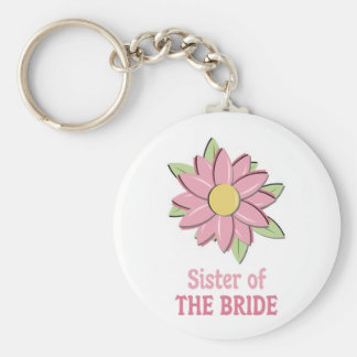 Pink Flower Bride Sister Basic Round Button Key Ring
