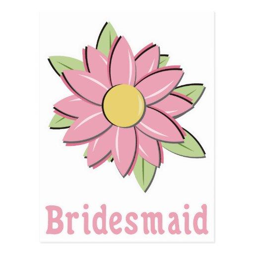 Pink Flower Bridesmaid Postcards