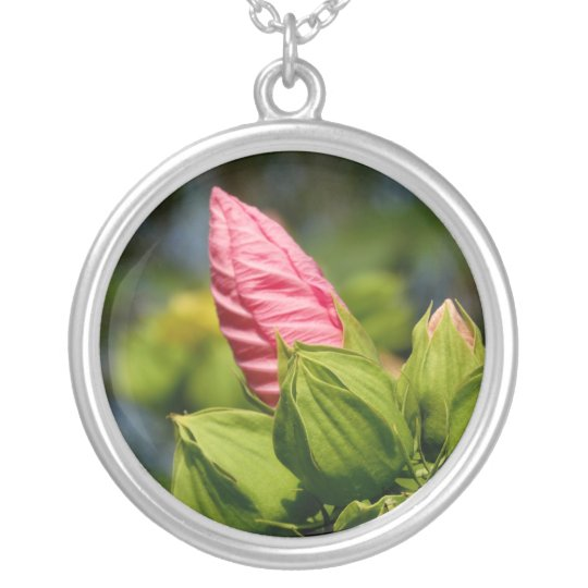 Pink Flower Bud Photo Silver Plated Round Necklace