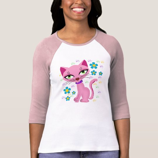 Pink Flower Cat ( gatto) T-Shirt