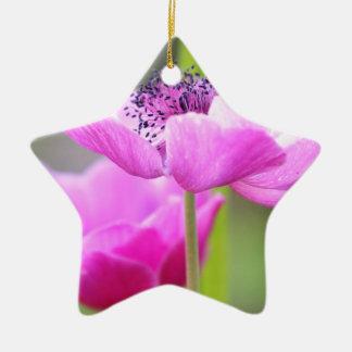 Pink flower ceramic star decoration