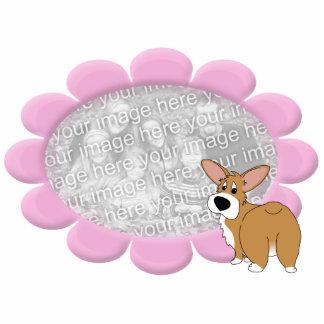 Pink Flower Corgi Photo Frame Photo Sculpture
