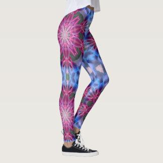 Pink Flower Crystal Geometric Leggings
