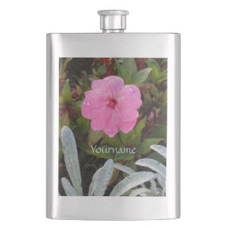 Pink Flower custom flask