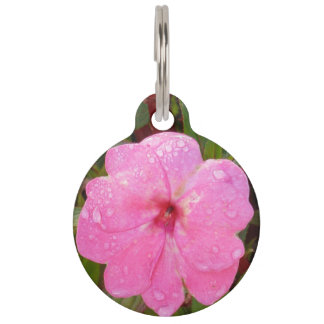 Pink Flower custom pet tags
