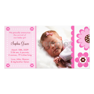 Pink Flower Custom Photo Birth Announcements Card