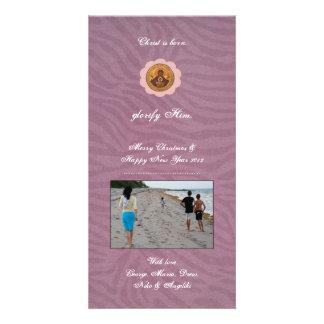 Pink Flower Custom Photo Card