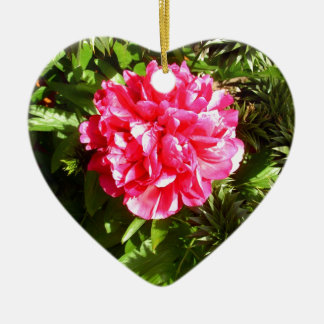 Pink Flower Design Ceramic Heart Decoration