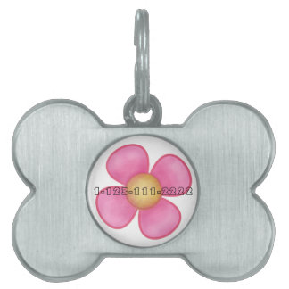PINK FLOWER DOG NAME TAG
