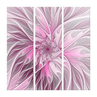 Pink Flower Dream, floral Fantasy Pattern Triptych Canvas Print