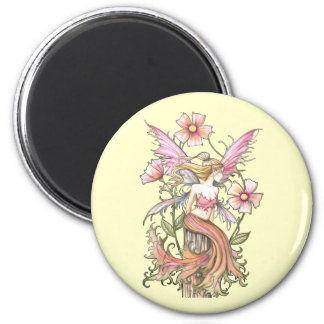 Pink Flower Fairy Art Magnet