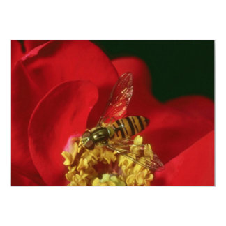 Pink Flower Fly flowers 5x7 Paper Invitation Card