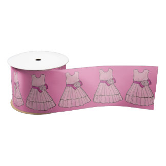 Pink Flower Girl Dress Wedding Bridal Party Ribbon Satin Ribbon