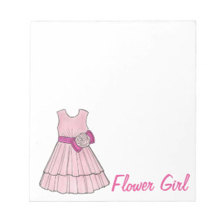 Pink Flower Girl Dress Wedding Party Gift Notepad
