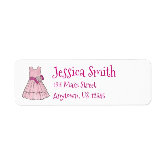 Pink Flower Girl Wedding Pageant Party Dress Label Return Address Label