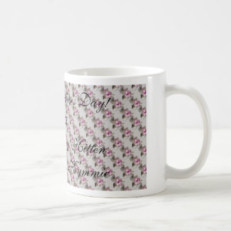 Pink Flower Green Cup Design, Happy Mother's Day!2 Basic White Mug