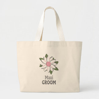 Pink Flower Groom Maui Canvas Bags