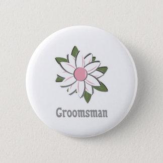 Pink Flower Groomsman 6 Cm Round Badge