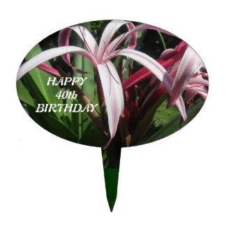 Pink Flower Happy Birthday Cake Topper