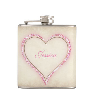 Pink Flower Heart Bridesmaid Gift Hip Flask